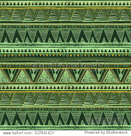 vector seamless pattern with abstract folk ornaments. Ethnic green art