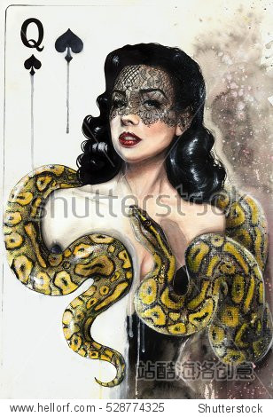 Watercolor painting of a beautiful brunette woman with a yellow snake as a queen playing card. Anaconda boa. Burlesque.
