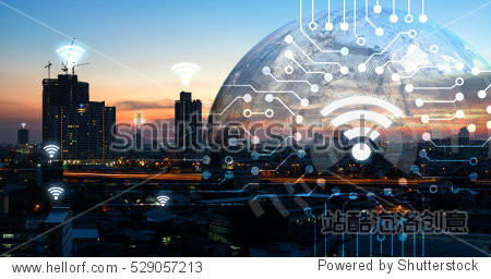 Internet of things   iot   smart home   smart city and network connect concept. Human hand holding white phone and iot icon with city sunset view and earth furnished by NASA. background and wifi icons