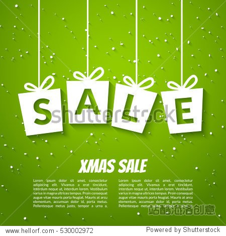 Christmas sale poster template. Xmas sale background. Winter holiday discount offer clearance green template
