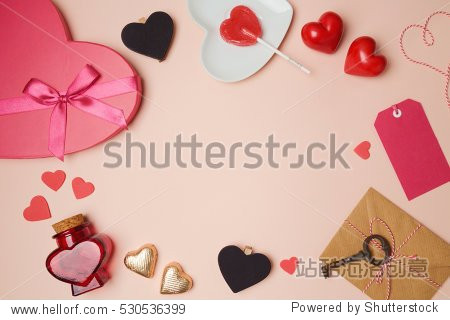 Valentine's day background with heart shape objects. View from above. Flat lay