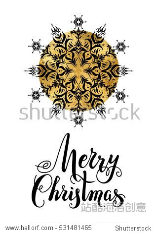 Merry Christmas snowflake. Holiday Christmas background for banners  advertising  leaflet  cards  invitation and so on. Handwritten Christmas Inscription.