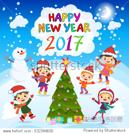 Happy New Year 2017 kids background  happy child with Happy new year 2017  Colorful Illustration