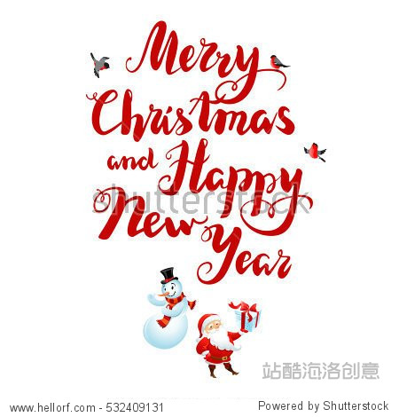 Holiday Christmas background for banners  advertising  leaflet  cards  invitation and so on. Santa Claus  snowman cartoon characters. Handwritten Christmas Inscription.