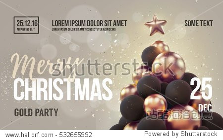 Christmas Hipster card or flyer template with golden christmas tree. Vector illustration