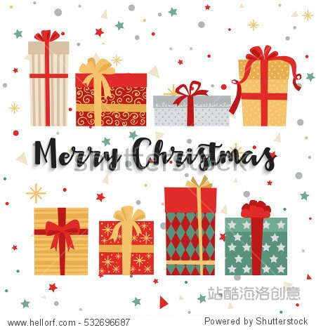 Christmas background with gift boxes. Vector illustration
