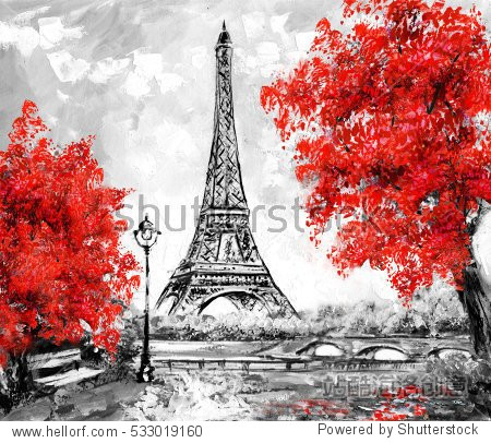 Oil Painting  Paris. european city landscape. France  Wallpaper  eiffel tower. Black  white and red  Modern art. trees.