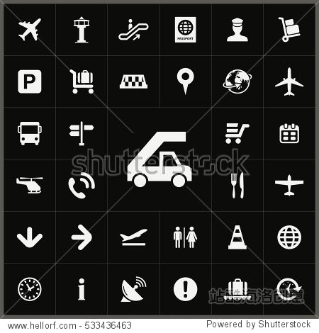 airport icons universal set for web and mobile