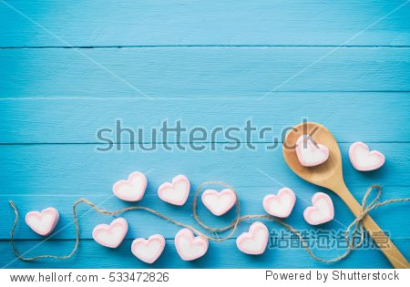 Stacked of Pink marshmallow in heart shape with close up view. Concept for love and sweet theme on Valentine day.
