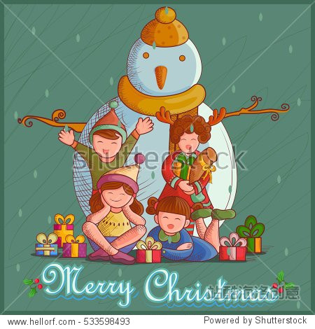 Vector design of Kid with gift and Snowman for festival Merry Christmas holiday background