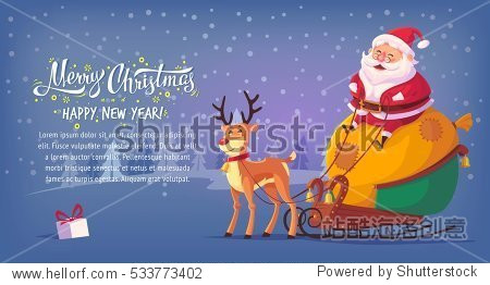 Cute cartoon Santa Claus sitting in sleigh with reindeer Merry Christmas vector illustration horizontal banner