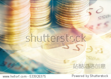 Golden coins on Credit card Finance concept.
