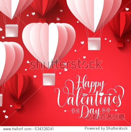 Happy valentines day  greetings with paper cut heart shape balloons flying and hearts elements in red background. 3D realistic vector illustration design.