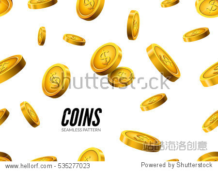 Gold coin seamless pattern. Wealth business background. Dollar finance success pattern. Vector money currency.