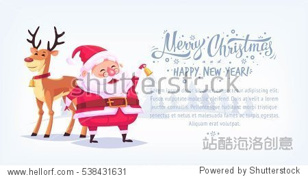 Cute cartoon Santa Claus ringing bell with reindeer Merry Christmas vector illustration horizontal banner.