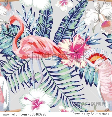Tropical bird pink flamingo and parrot macaw banana palm leaves in trendy blue style and flowers hibiscus, frangipani, orchid. Seamless vector pattern