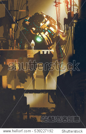 sci-fi scene of giant robot in old factory illustration painting