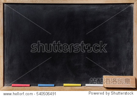 blackboard with colored chalks and eraser Horizontal composition