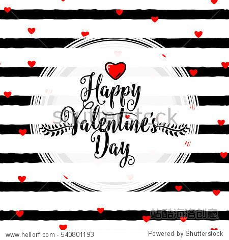 Vector illustration of stylish valentines day greeting card template with lettering calligraphy text sign  hearts  white round shape frame on seamless rough stripes background in Memphis style