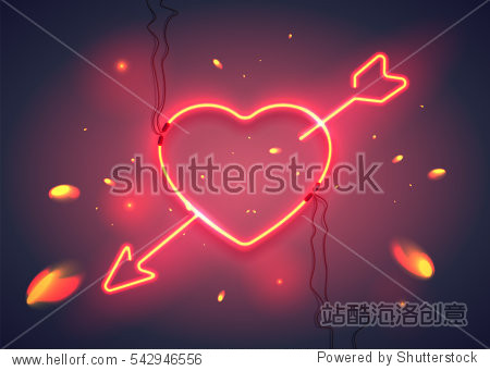 Neon sign  heart with arrow on dark background with sparks. Design element for Happy Valentine's Day. Ready for your design  greeting card  banner. Vector illustration.