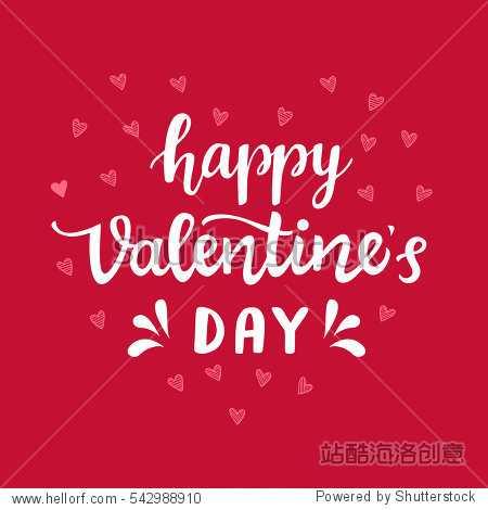 Happy Valentines Day typography poster with hand written lettering. Vector Illustration