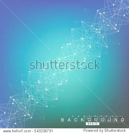 Structure molecule and communication. Dna  atom  neurons. Scientific concept for your design. Connected lines with dots. Medical  technology  chemistry  science background. Vector illustration