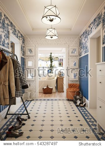 Hall in style of Provence  decorated with vintage accessories. 3d render