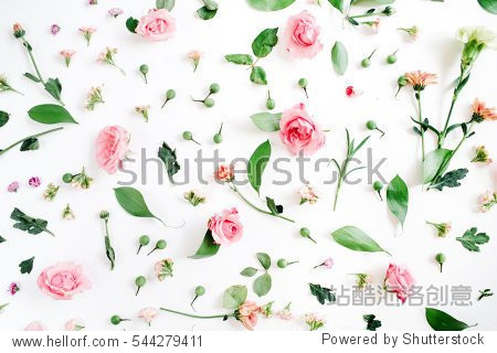 Floral pattern made of pink and beige roses  green leaves  branches on white background. Flat lay  top view. Valentine's background. Floral pattern. Pattern of flowers. Flowers pattern texture