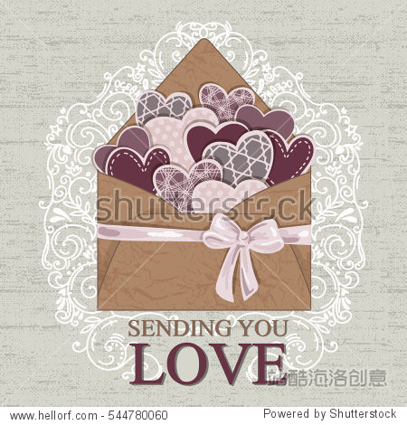Happy Valentine's Day Envelope with hearts. Vector Illustration.Scrapbook elements.Realistic Mail Envelope   Can be used for Mother's and Women's Day greetings