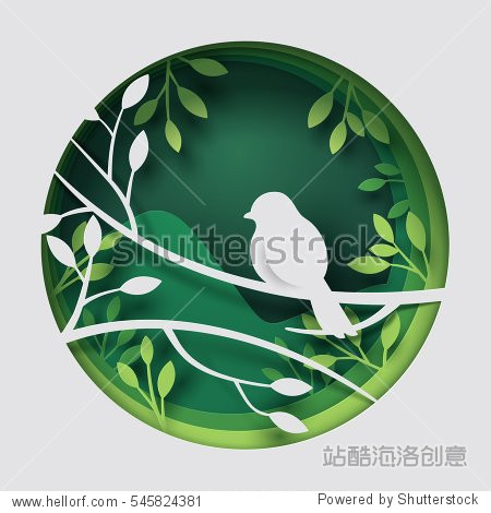 Paper art carve to bird on tree branch in forest at night  origami concept nature and animals idea  vector art and illustration.