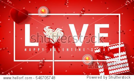 Happy Valentine's Day red banner. Top view on composition with lollipop  gift box  case for ring  candles and confetti. Candy in the form of heart isolated on red backdrop. Vector illustration.
