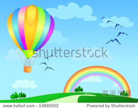 Balloon flying to the rainbow  vector