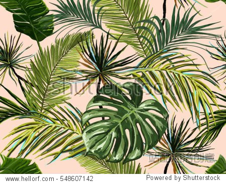 Beautiful seamless vector floral summer pattern background with tropical palm leaves. Perfect for wallpapers  web page backgrounds  surface textures  textile.