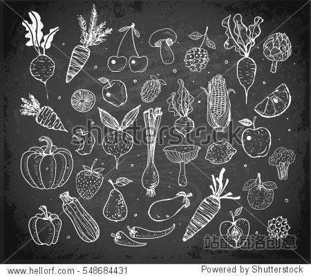 Doodle fruits and vegetables on blackboard background. Vector sketch illustration of healthy food.