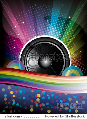 Rainbow Disco Background with speaker and stars