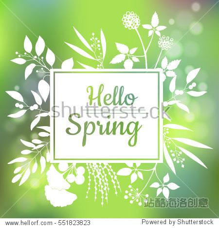 Hello Spring green card design with a textured abstract background and text in square floral frame  vector illustration. Lettering design element