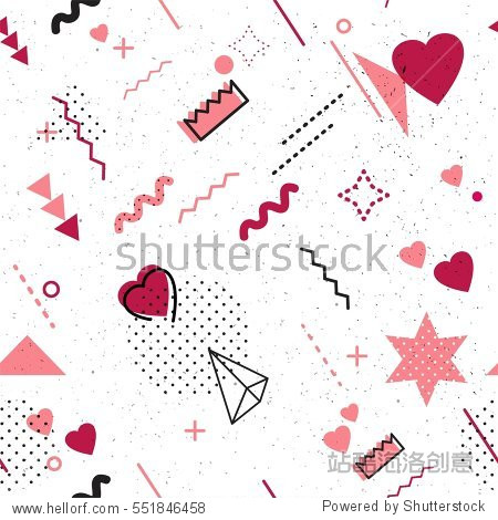 Trendy geometric elements memphis card. Seamless memphis pattern for Happy Valentine's Day celebration with holiday symbols  in retro 80s  90s memphis style. Vector illustration