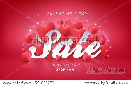 Valentines day sale background with Heart Shaped Balloons. Vector illustration.banners.Wallpaper.flyers  invitation  posters  brochure  voucher discount.