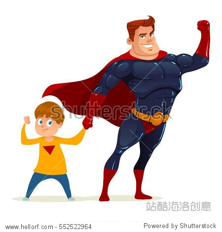 superhero concept, father with son, for your design Father's day greeting card, happy cartoon character, family power, color vector illustration