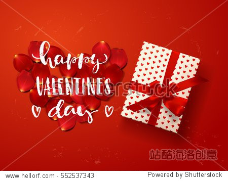Color vector gift box  bows and ribbons . Hand drawn calligraphy lettering Happy Valentine's Day