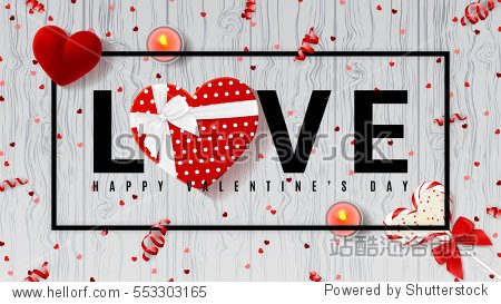 Web banner for Valentine's Day. Top view on composition with lollipop  gift box  case for ring  candles and confetti. Candy in the form of heart isolated on wooden texture. Vector illustration.