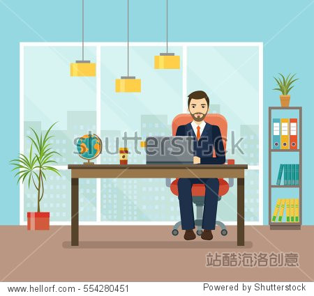 Office workplace with table  bookcase  window. Business man or a clerk working at her office desk.  Flat  vector illustration.