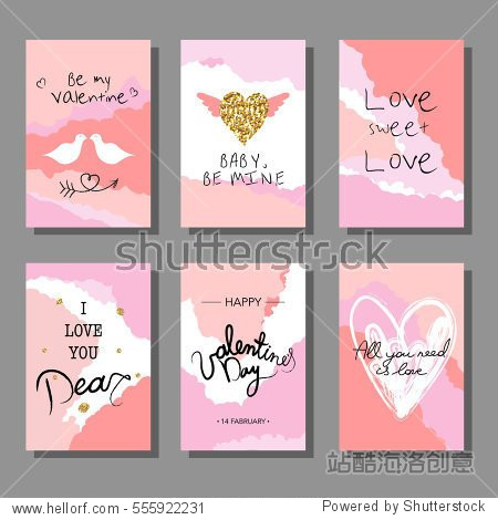 Valentine`s Day creative artistic cards set. Vector illustration. Wedding  love  romantic template. Hand drawn elements