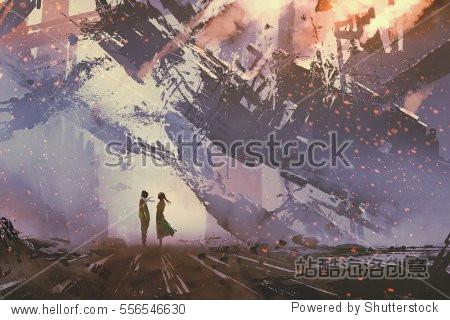 man and woman standing against collapsing buildings city illustration painting