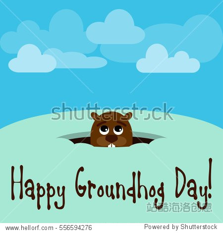 Happy Groundhog Day! Vector illustration with groundhog