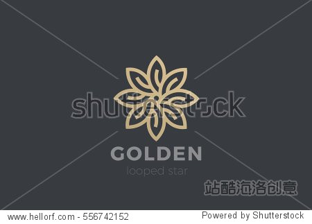 Gold Star Flower Logo design Infinity loop vector template. Luxury Jewelry Fashion Logotype concept icon