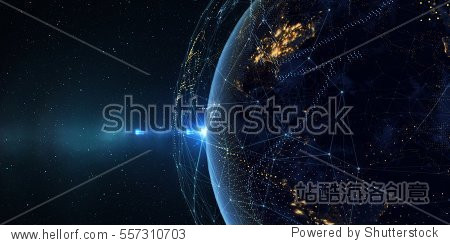 Connection lines Around Earth Globe  Theme Background with Light Effect. Some elements of the image provided by NASA. 3D illustration/Global International Connectivity Background. 3D illustration