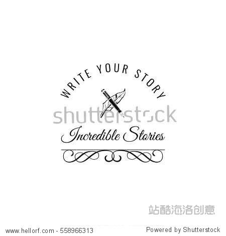 Feather  elegant pen  writer literary vector logos set. Vector illustration