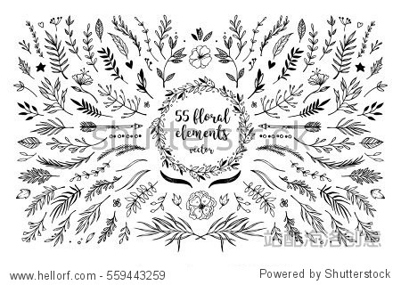Hand sketched vector vintage elements ( laurels  frames  leaves  flowers  swirls and feathers). Wild and free. Perfect for invitations  greeting cards  quotes  blogs  Wedding Frames  posters and more