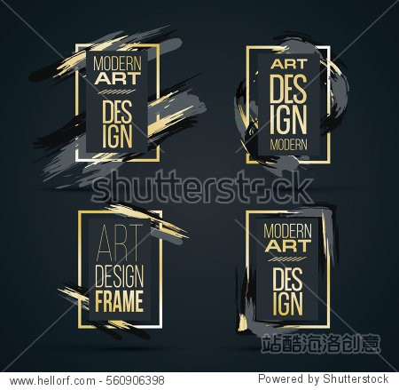 Vector frame for text Modern Art graphics for hipsters . dynamic frame stylish geometric black background with gold. element for design business cards  invitations  gift cards  flyers and brochures